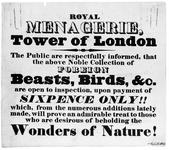 Thumbnail image of Poster Advertising the 19th century Tower Menagerie
