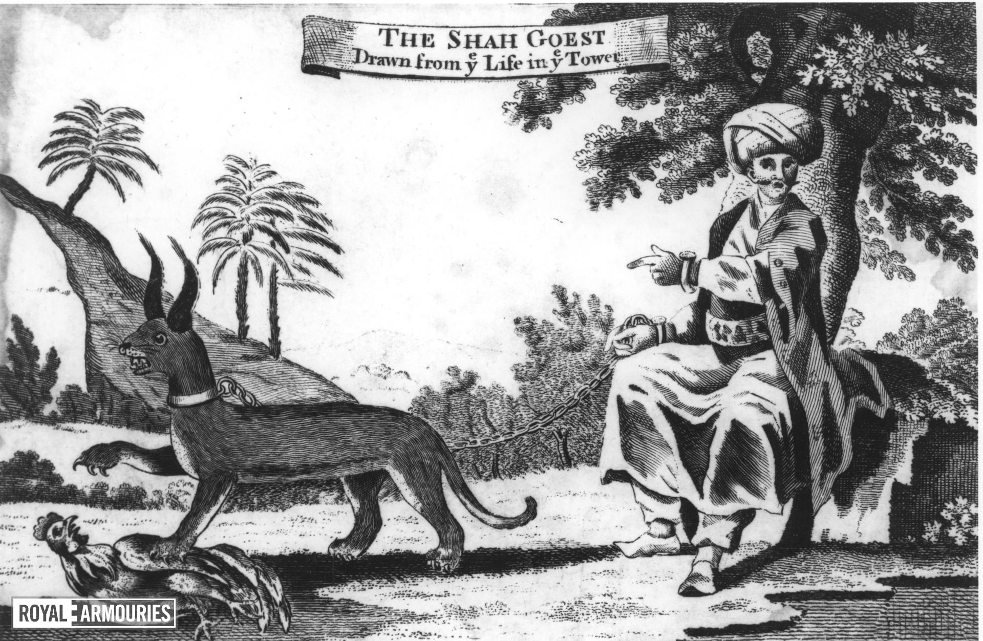 Print Engraved illustration of the 'Shah Goest' and its keeper.