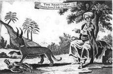 Thumbnail image of Print Engraved illustration of the 'Shah Goest' and its keeper.