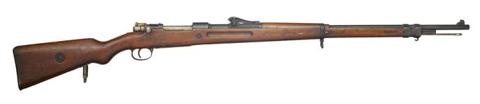 Thumbnail image of Bolt action magazine military rifle (Mauser rifle, Model 1898). German, Suhl, dated 1916. Made by Amberg Arsenal