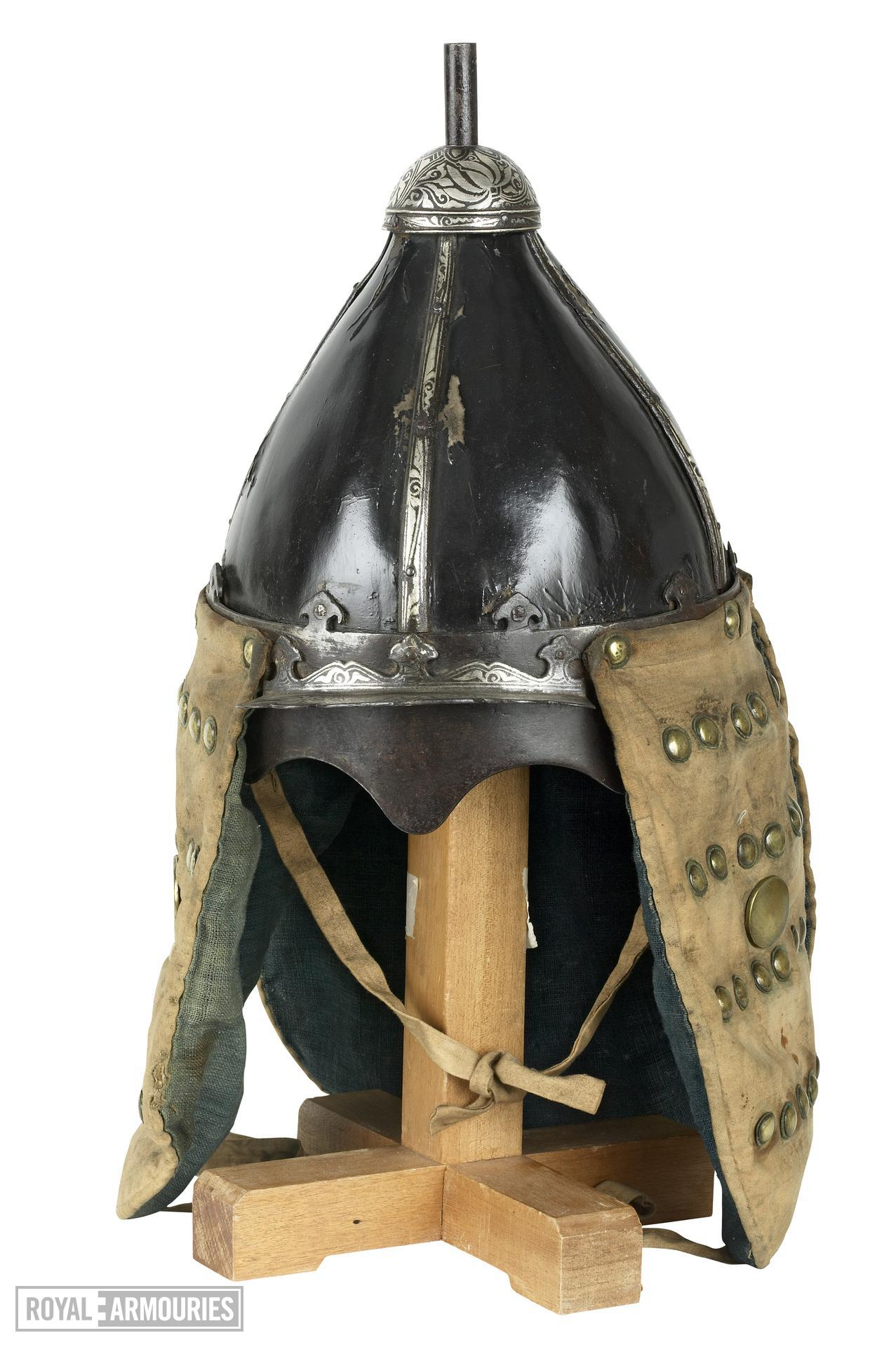 Helmet Helmet of lacquered leather