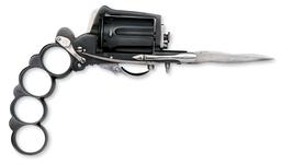 Thumbnail image of Pinfire six-shot pepperbox - Dolne Patent Apache model, with attached knife blade