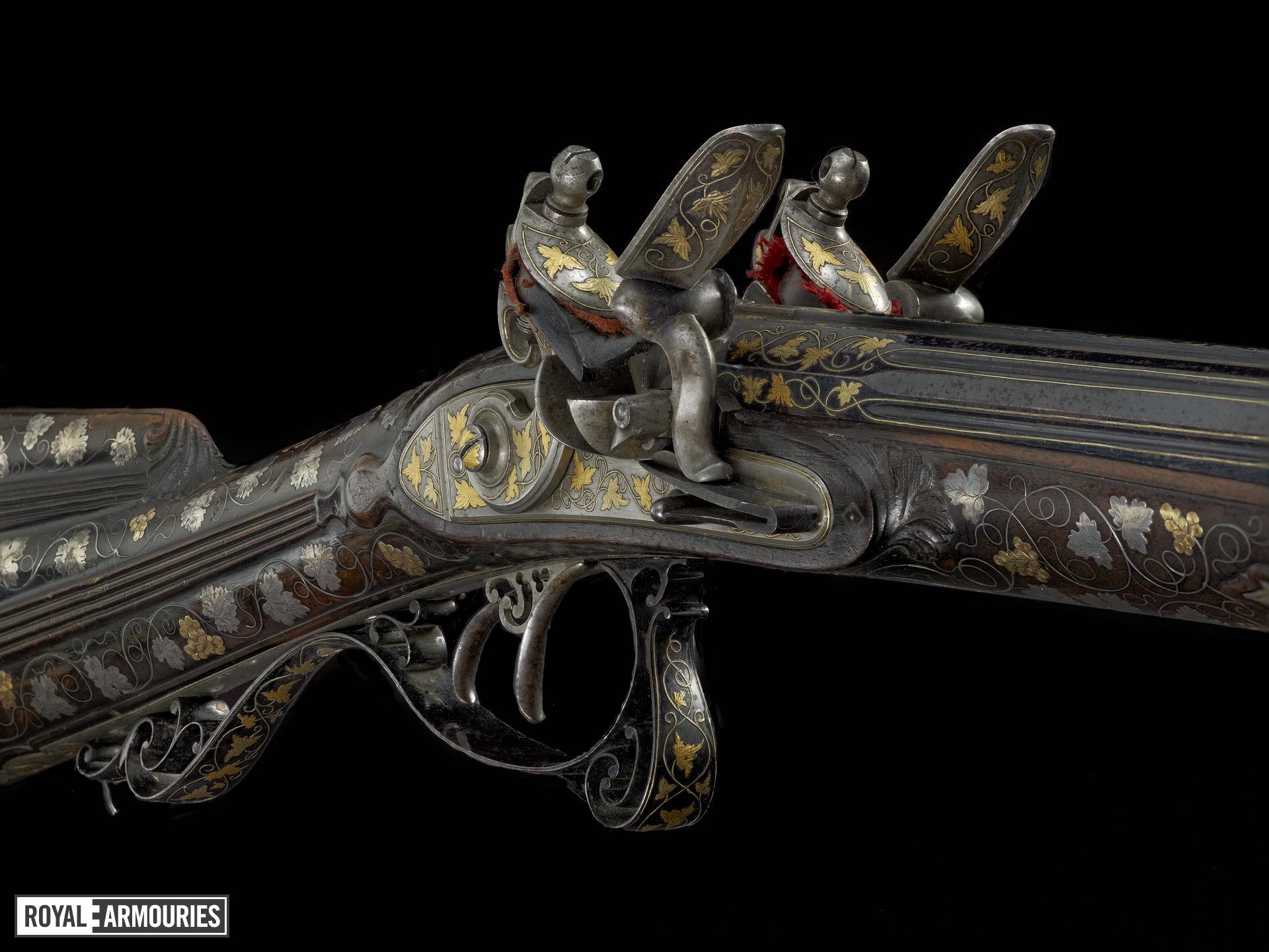 Flintlock muzzle-loading double-barrelled shotgun - By Zaoue