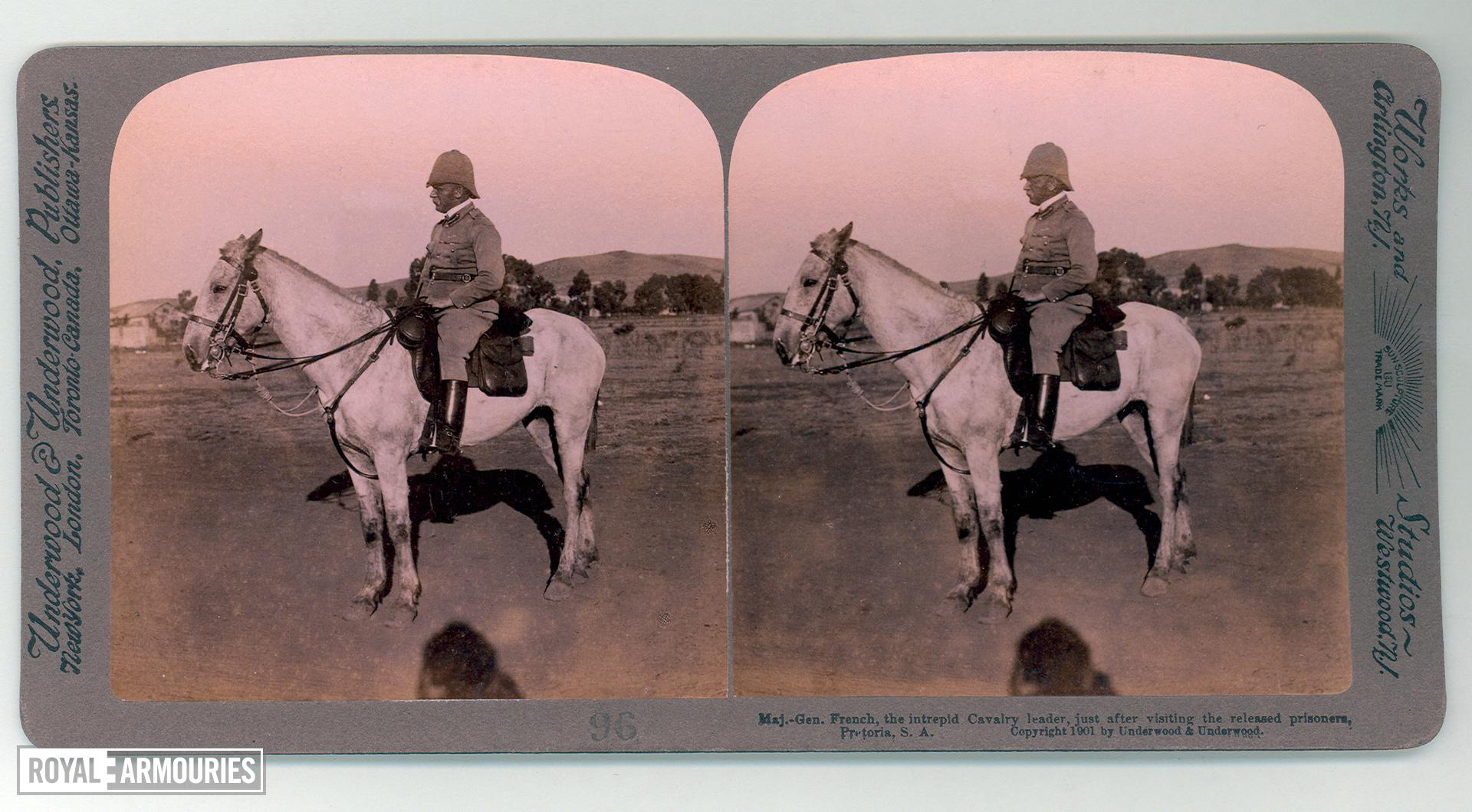 "Stereoscopic photograph entitled ""No 96 Maj-Gen French, the intrepid cavalry leader, just after visiting the released prisoners."" From: South African War through the stereoscope (New York and London : Underwood and Underwood, ca. 1900)  (RAR.0049)"