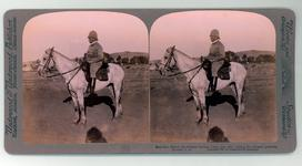 "Thumbnail image of Stereoscopic photograph entitled ""No 96 Maj-Gen French, the intrepid cavalry leader, just after visiting the released prisoners."" From: South African War through the stereoscope (New York and London : Underwood and Underwood, ca. 1900)  (RAR.0049)"