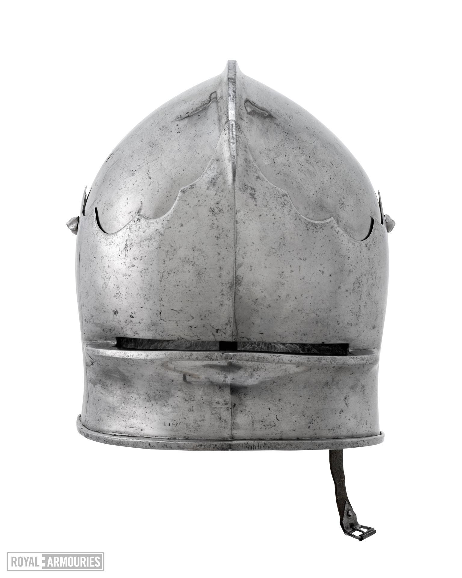 Composite armour Consists of II.168 A Sallet; II.168 B Bevor; II.168 C Breastplate; II.168 D Backplate; II.168 E Right pauldron and vambrace; II.168 F Left pauldron; II.168 I Right greave; II.168 J Left greave; II.168 K Vambrace (incomplete)
