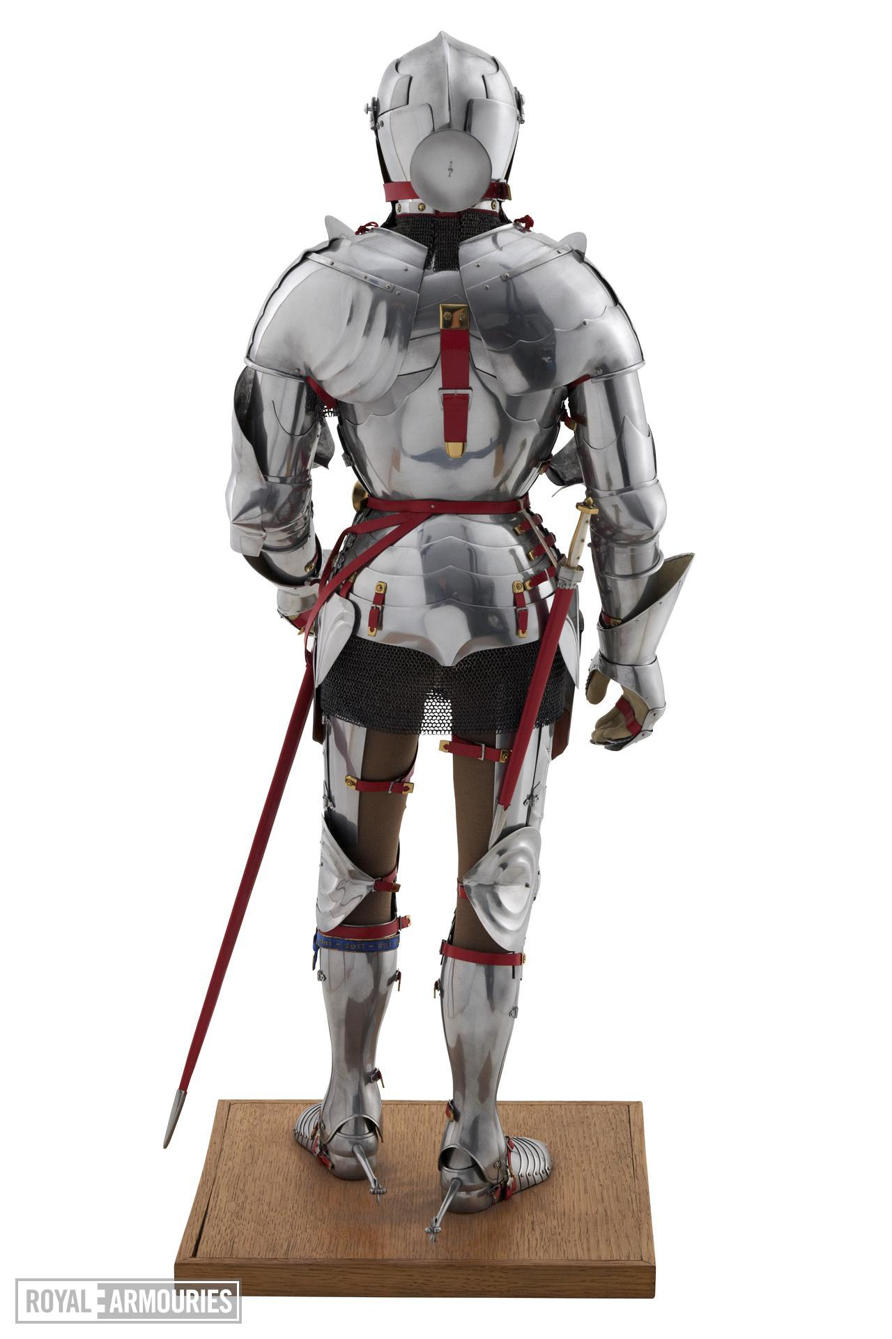 Rear view of model of a man at arms in Milanese armour of about 1450. British, 1972. Made by Peter Wroe (II.194)