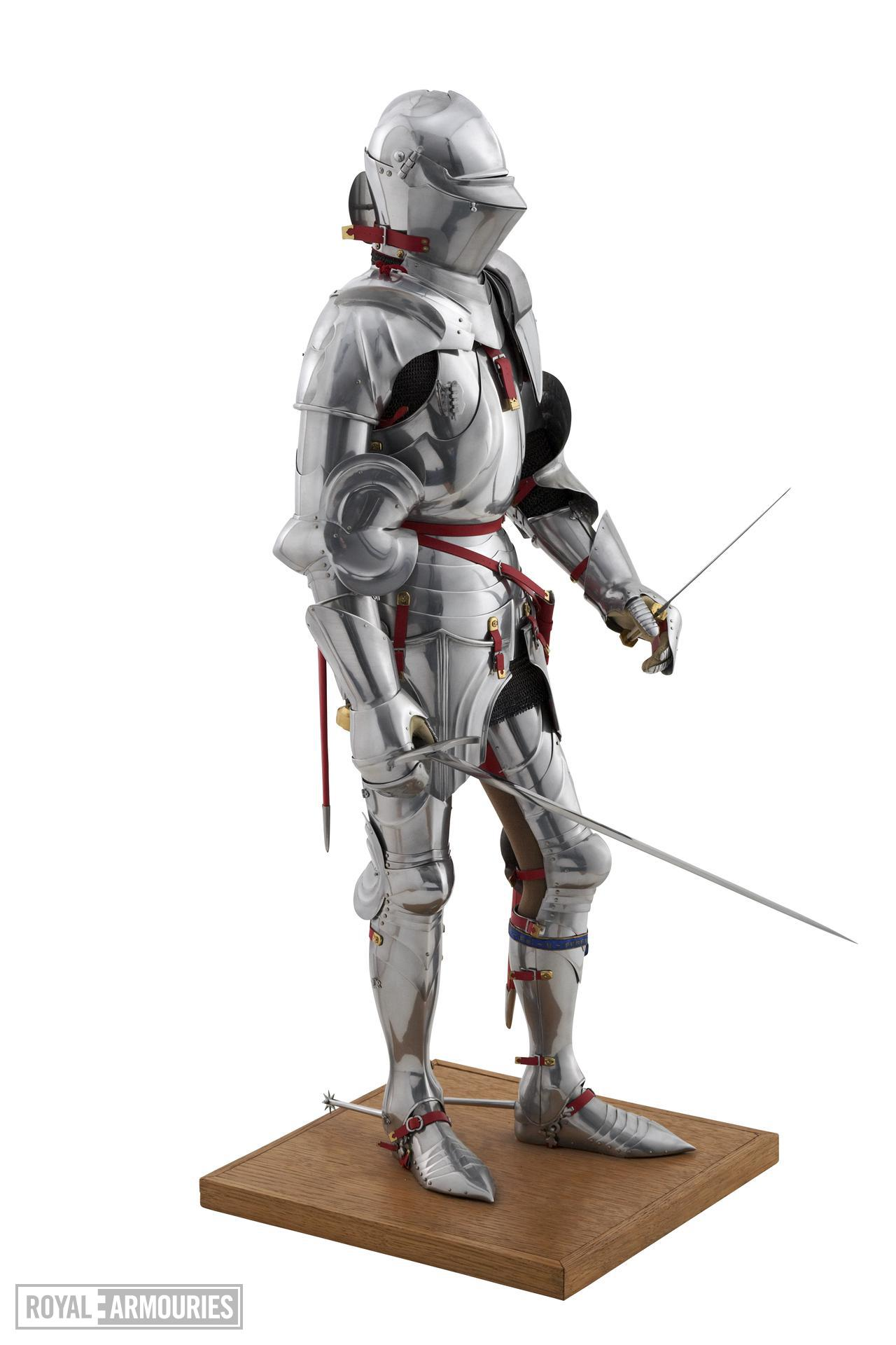 Model of a man at arms in Milanese armour of about 1450. British, 1972. Made by Peter Wroe (II.194)