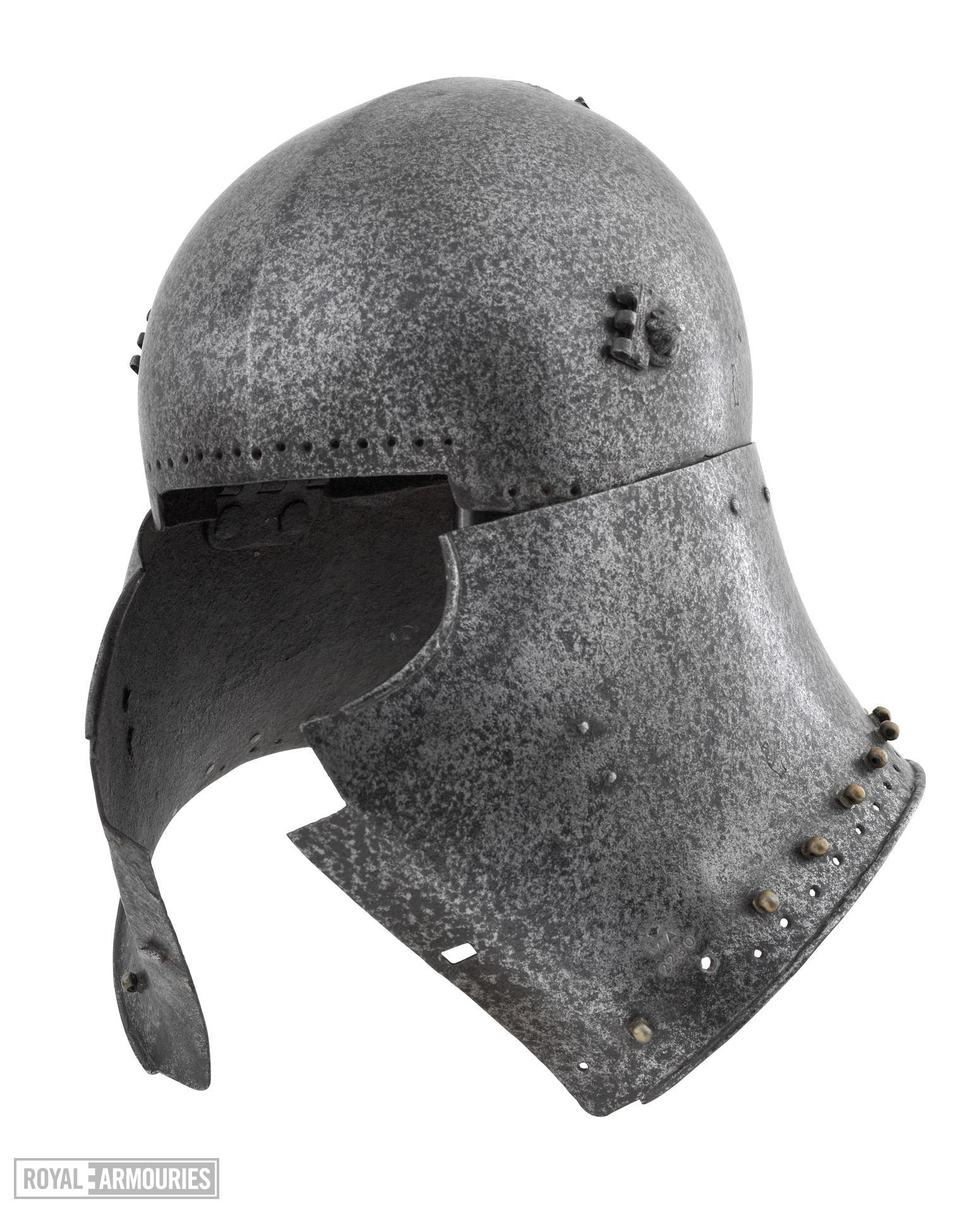 Armet Early north Italian armet, missing visor, with vervelles attributed to Benedetto da Molteno