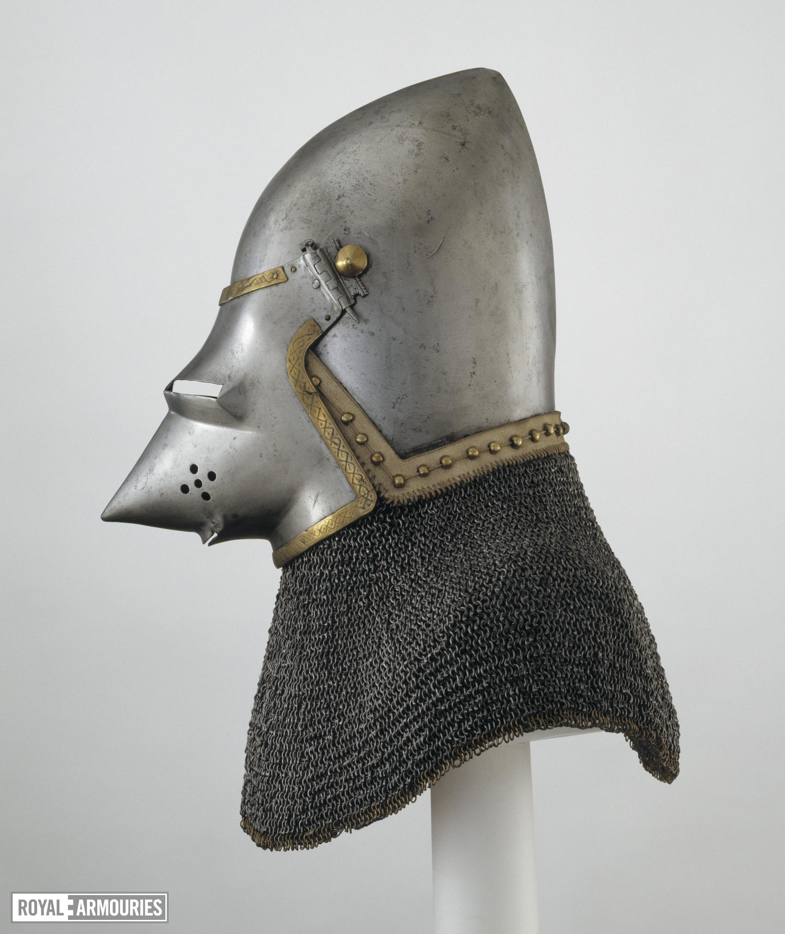 Bacinet - The Lyle bacinet Late 14th century bascinet with 'houndskull' visor and aventail