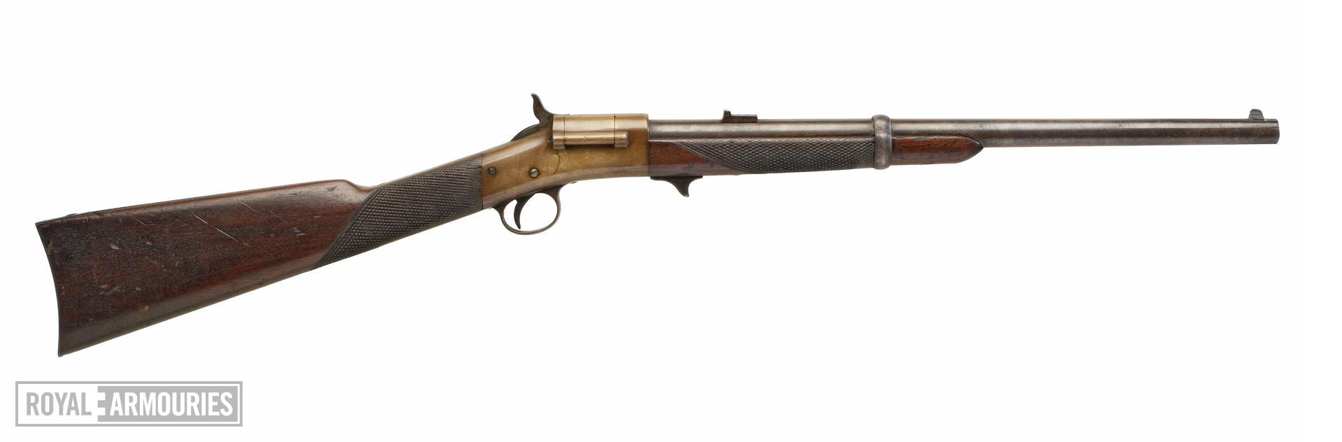 Rimfire breech-loading military carbine - Warner Carbine Also known as the Warner-Greene carbine