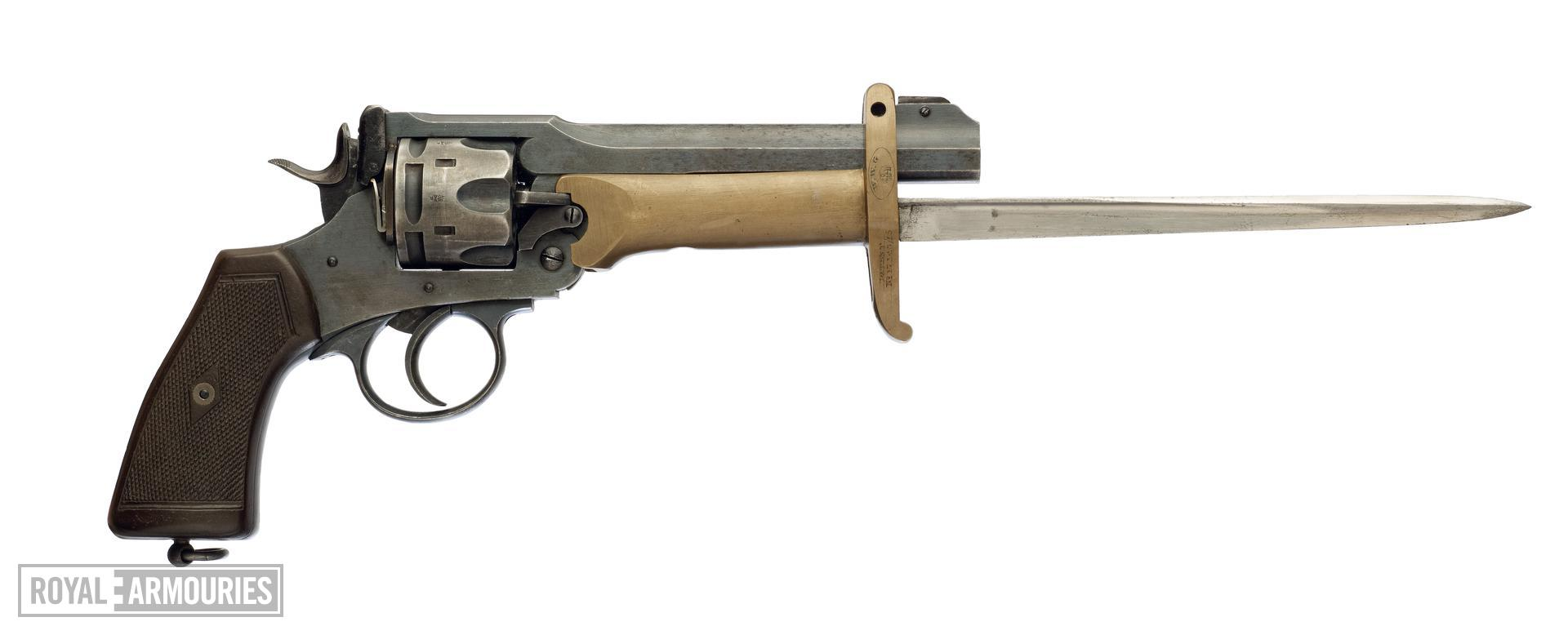 Six shot military revolver (Webley revolver, Mk. VI). British, about 1917 fitted with a Pritchard-Greener bayonet (X.424)