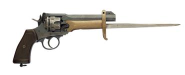 Thumbnail image of Six shot military revolver (Webley revolver, Mk. VI). British, about 1917 fitted with a Pritchard-Greener bayonet (X.424)