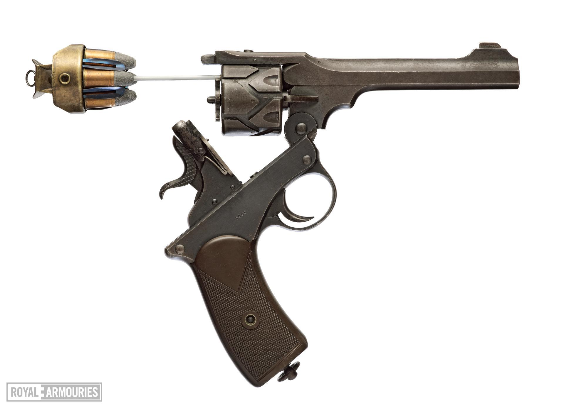 Centrefire six-shot self-cocking revolver - Webley Fosbery Model 1902
