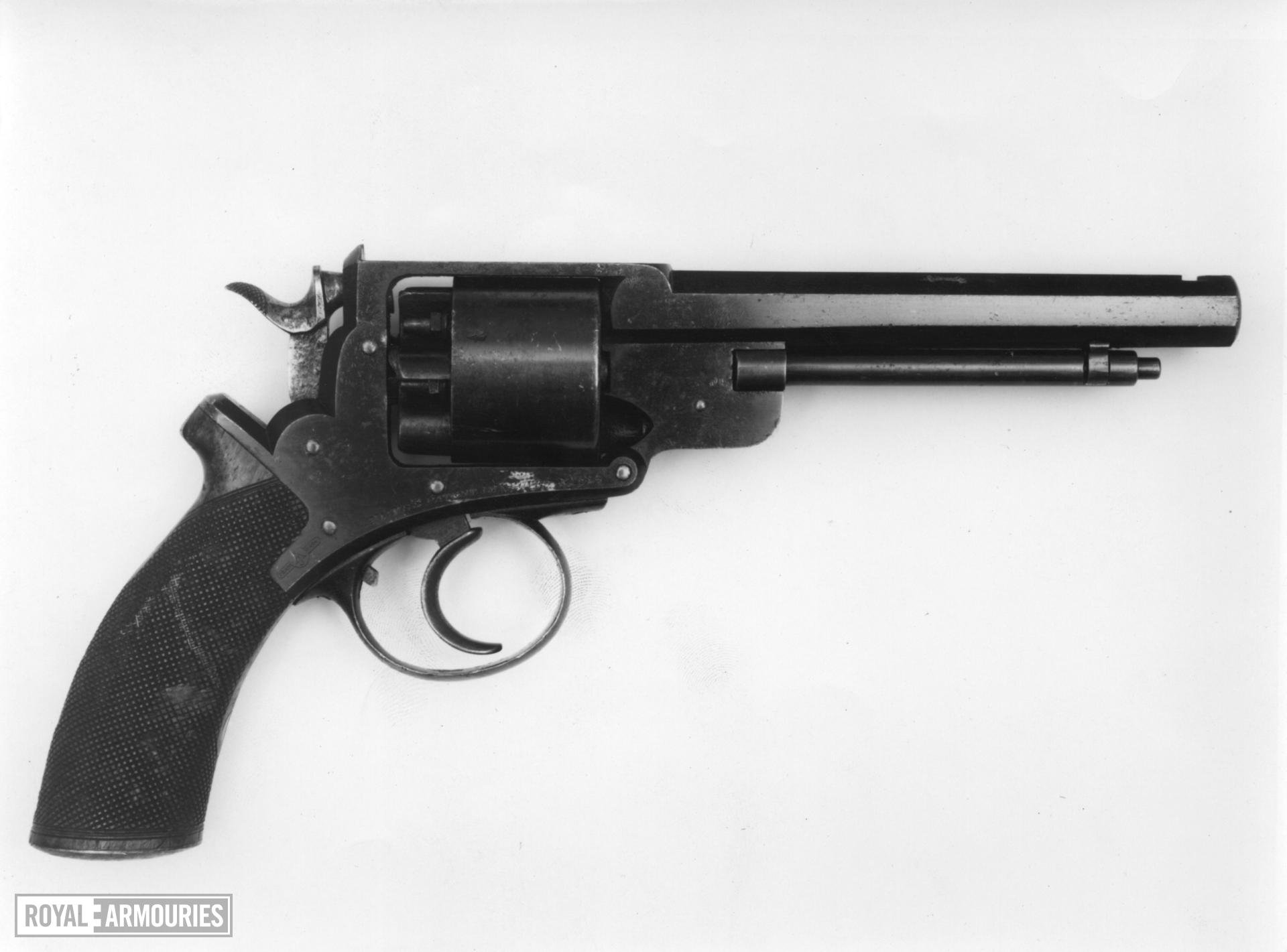 Percussion six-shot revolver - John Adams Model 1866 Adams patent no 135. Retailed by Adams patent small arms co.
