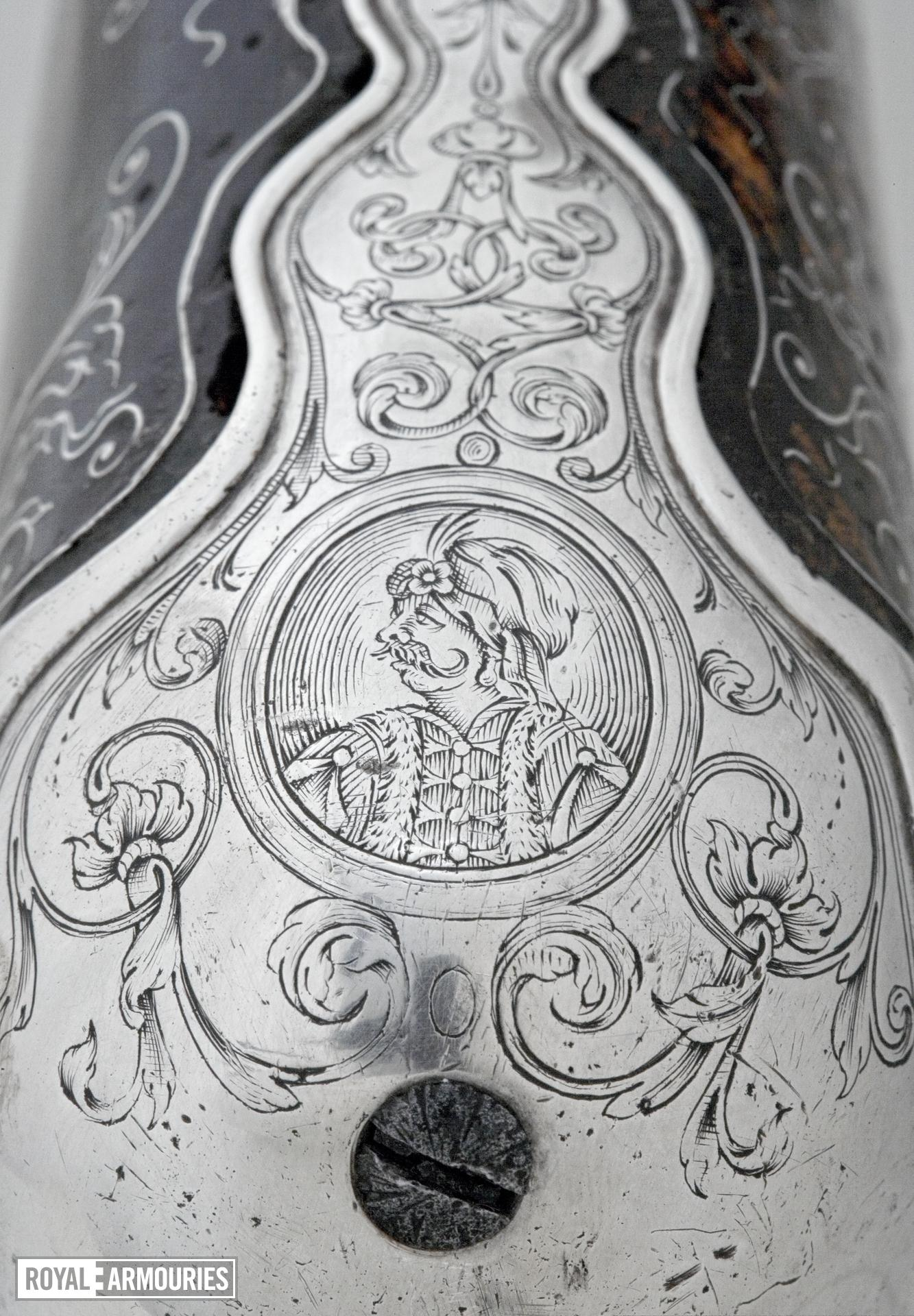 Flintlock sporting gun - By Henry Crisp Silver-mounted for presentation by Lord Dartmouth