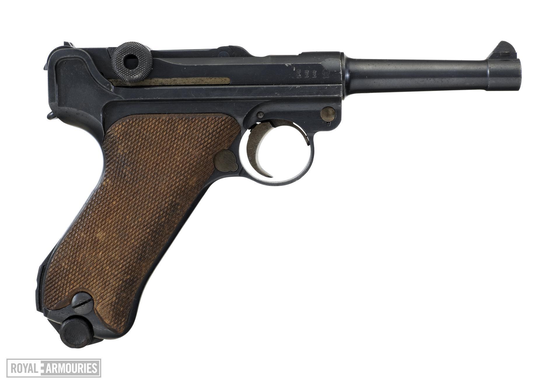 Centrefire self-loading pistol - Luger Model PO8 Manufactured by D.W.M (Deutsche Waffen-und Munitionsfabriken).