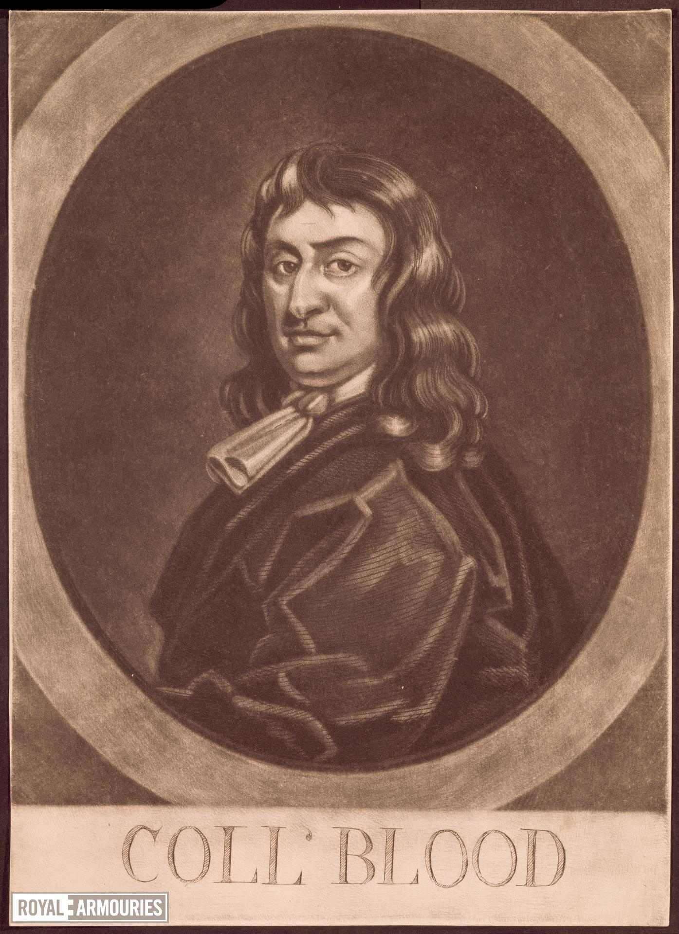 Print Mezzotint portrait of Colonel Thomas Blood, by George White (eng.).