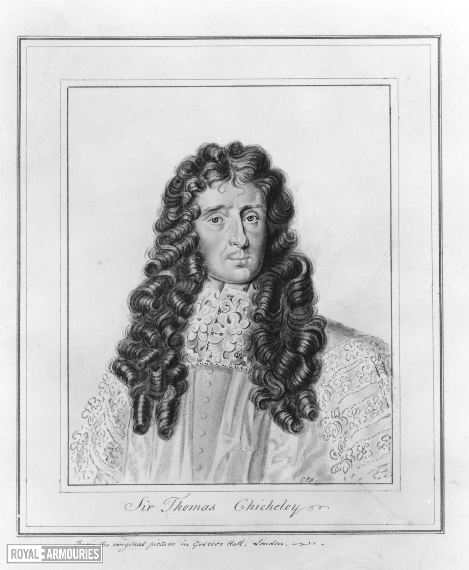 Drawing Portrait of Sir Thomas Chicheley, Master of the Ordnance, 1670-1679.