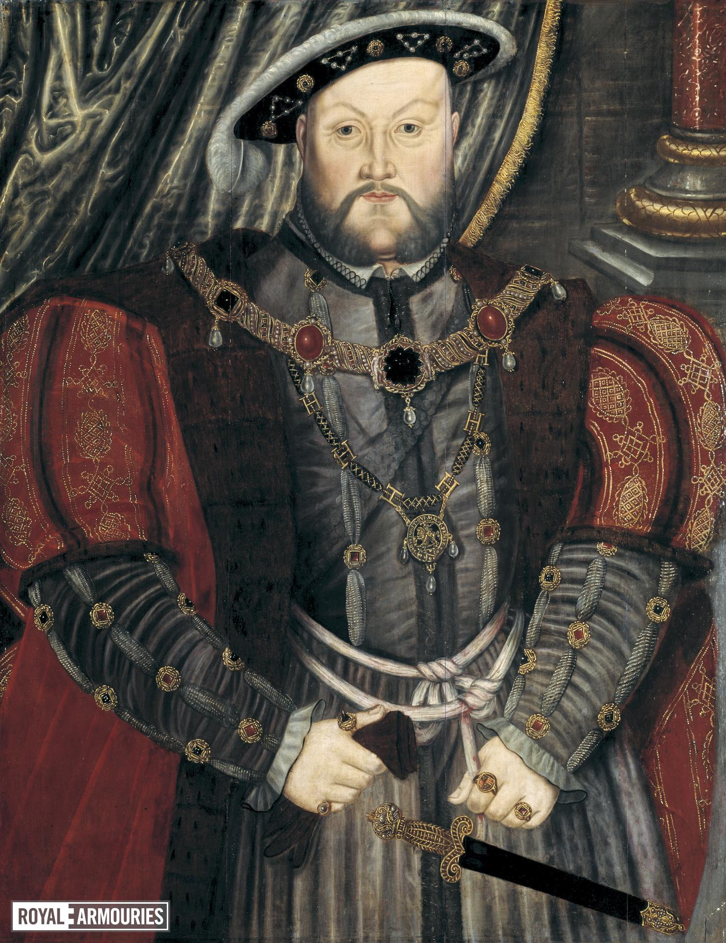 Painting Portrait of Henry VIII, after Holbein, oil on panel