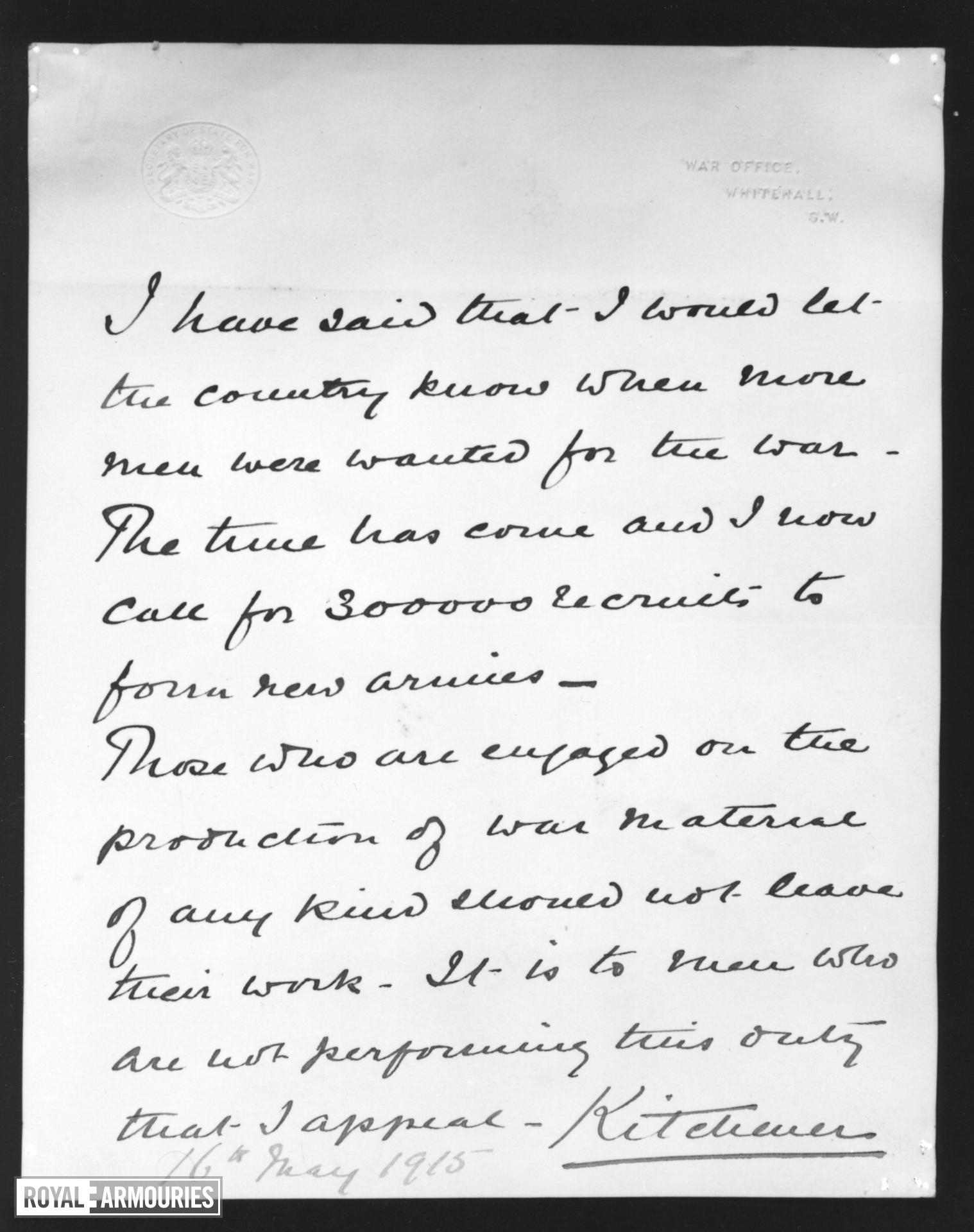 Autograph letter on War Office paper signed Kitchener appealing for ...