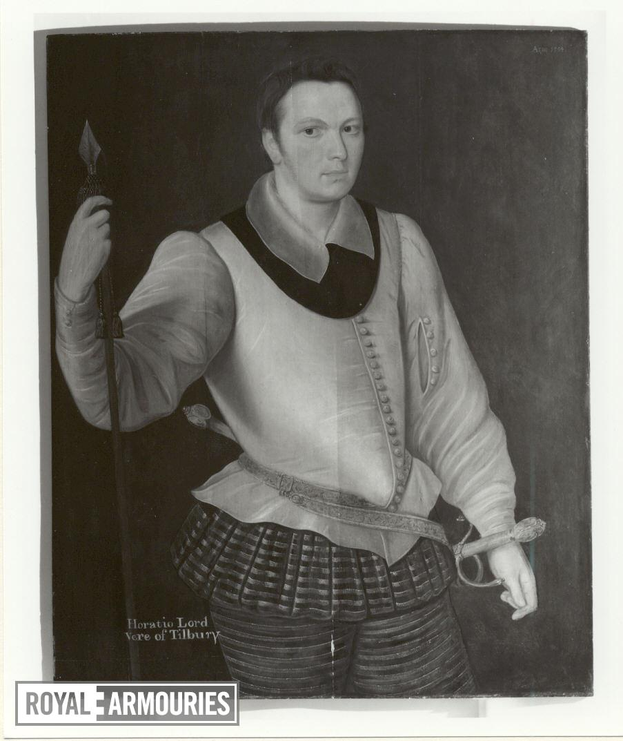 Painting - Horace, Lord Vere of Tilbury Portrait of Horace, Lord Vere of Tilbury.  Three-quarter length, facing half-right, wearing a white silk 'peasecod' doublet and black and gold panel trunks and cannion, a gorget under a falling cambric collar, gold-embroidered sword-belt with hilts of swept-hilt rapier amd matching dagger visible. He carries a spear-headed, tasselled leading staff.  Oil on panel, attributed to George Gower.