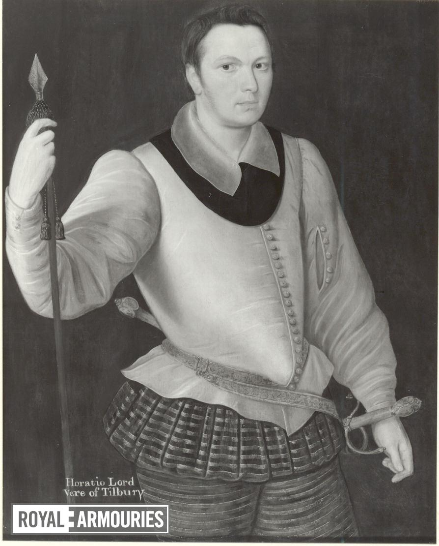 Painting Portrait of Horace, Lord Vere of Tilbury. Oil on panel, attributed to George Gower.