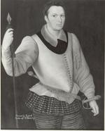 Thumbnail image of Painting - Horace, Lord Vere of Tilbury Portrait of Horace, Lord Vere of Tilbury.  Three-quarter length, facing half-right, wearing a white silk 'peasecod' doublet and black and gold panel trunks and cannion, a gorget under a falling cambric collar, gold-embroidered sword-belt with hilts of swept-hilt rapier amd matching dagger visible. He carries a spear-headed, tasselled leading staff.  Oil on panel, attributed to George Gower.