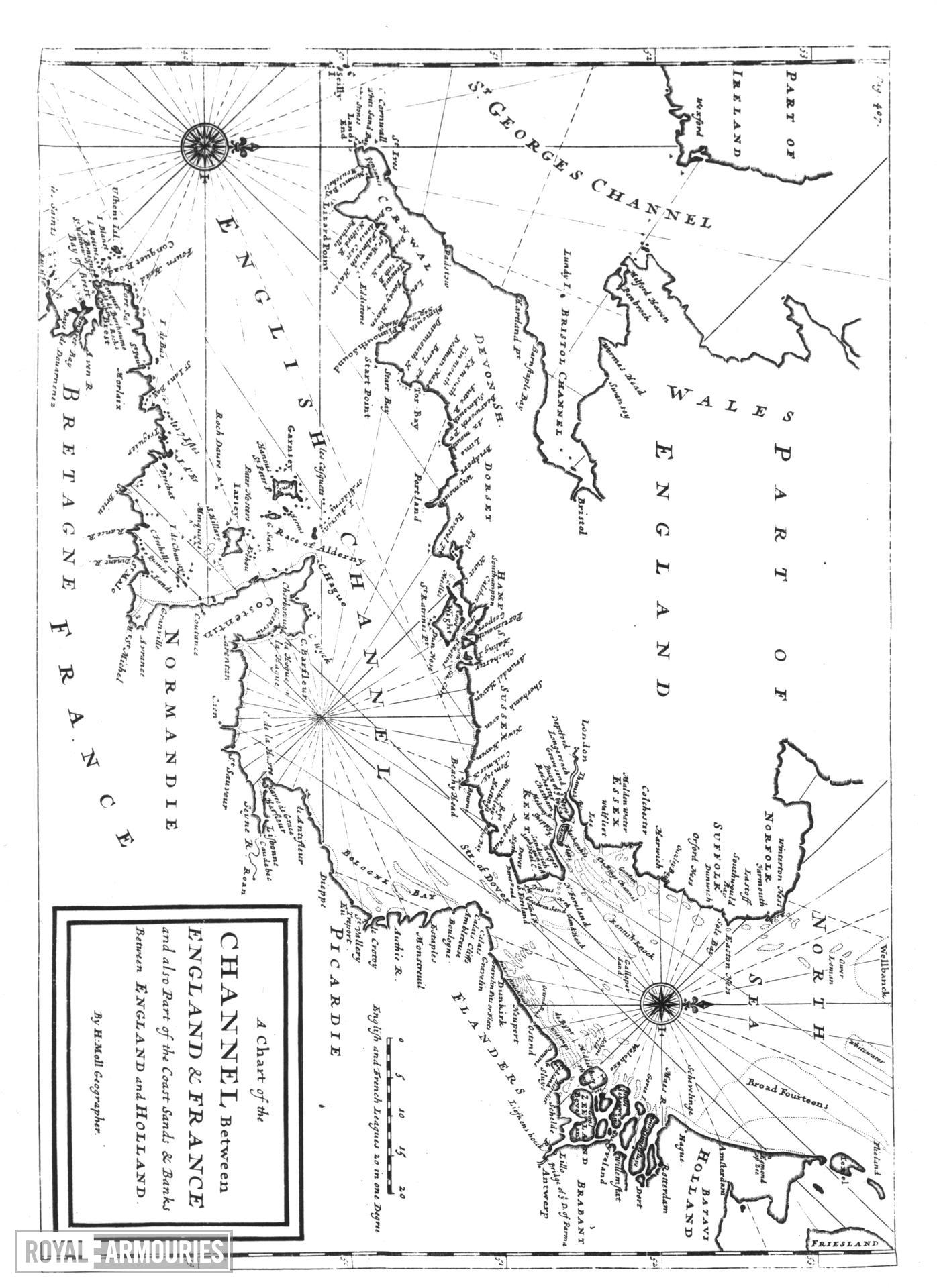 Map Map of the Channel between England and France, by H. Moll.