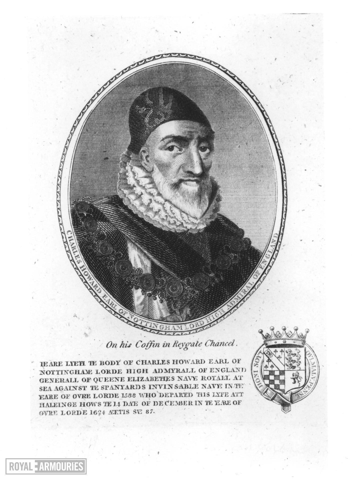 Print Engraved Portrait of Charles Howard, Earl of Nottingham, Lord High Admiral of England, 1536-1624.
