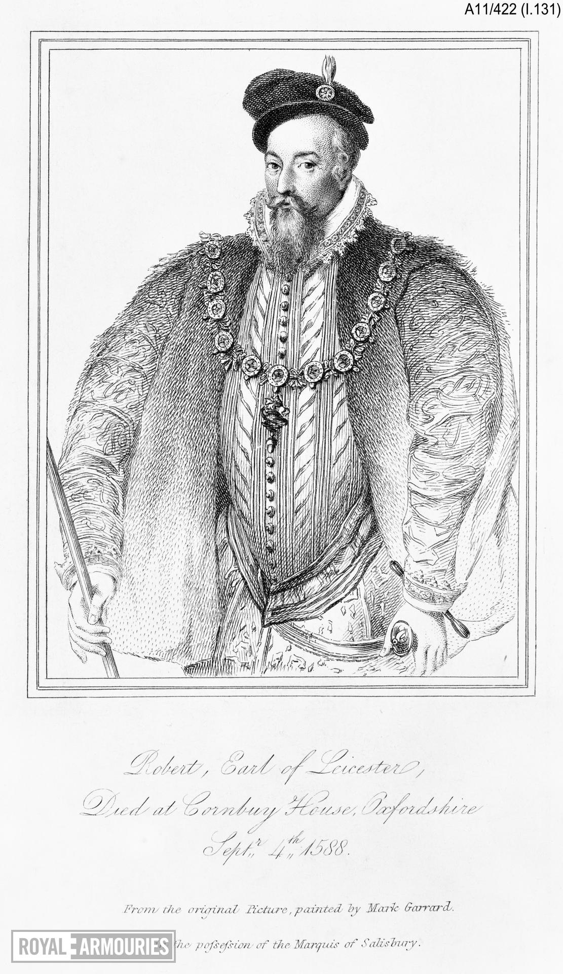 Print Engraved Portrait of Robert Dudley, Earl of Leicester, 1532-1588.