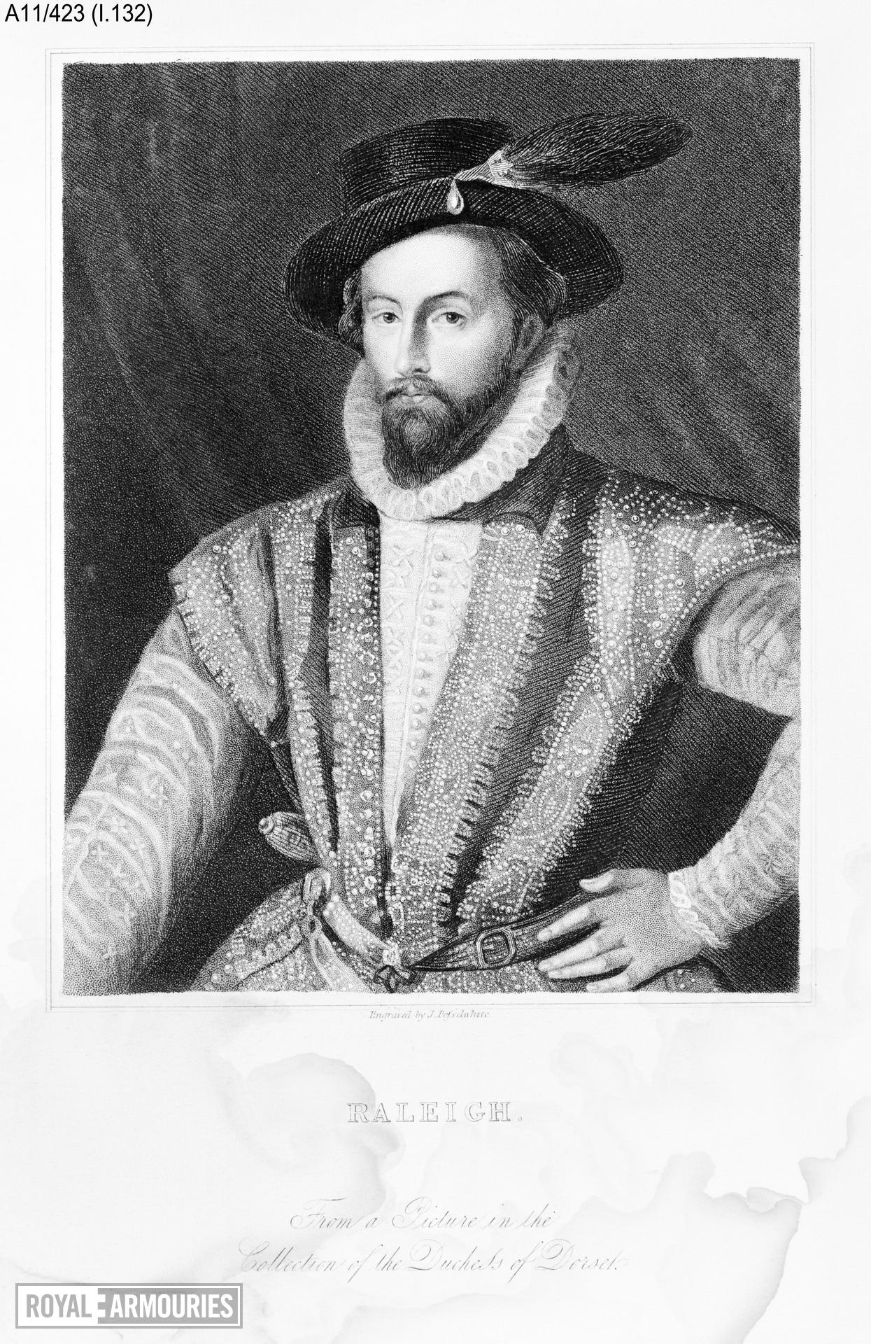 Print Engraved portrait of Sir Walter Raleigh, 1552-1618.
