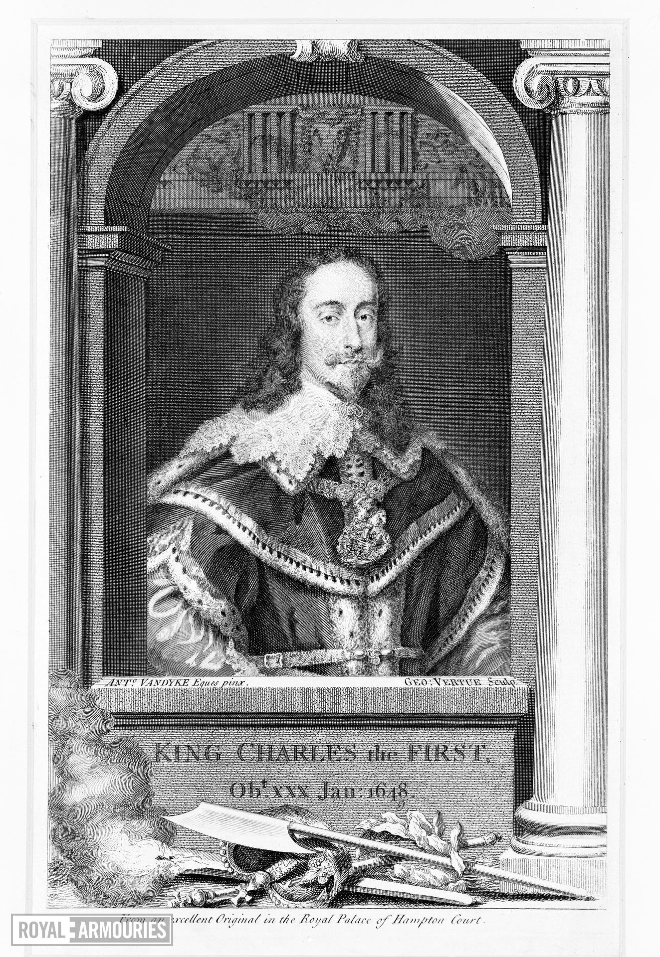 Print Engraved portrait of Charles I, 1600-1649.