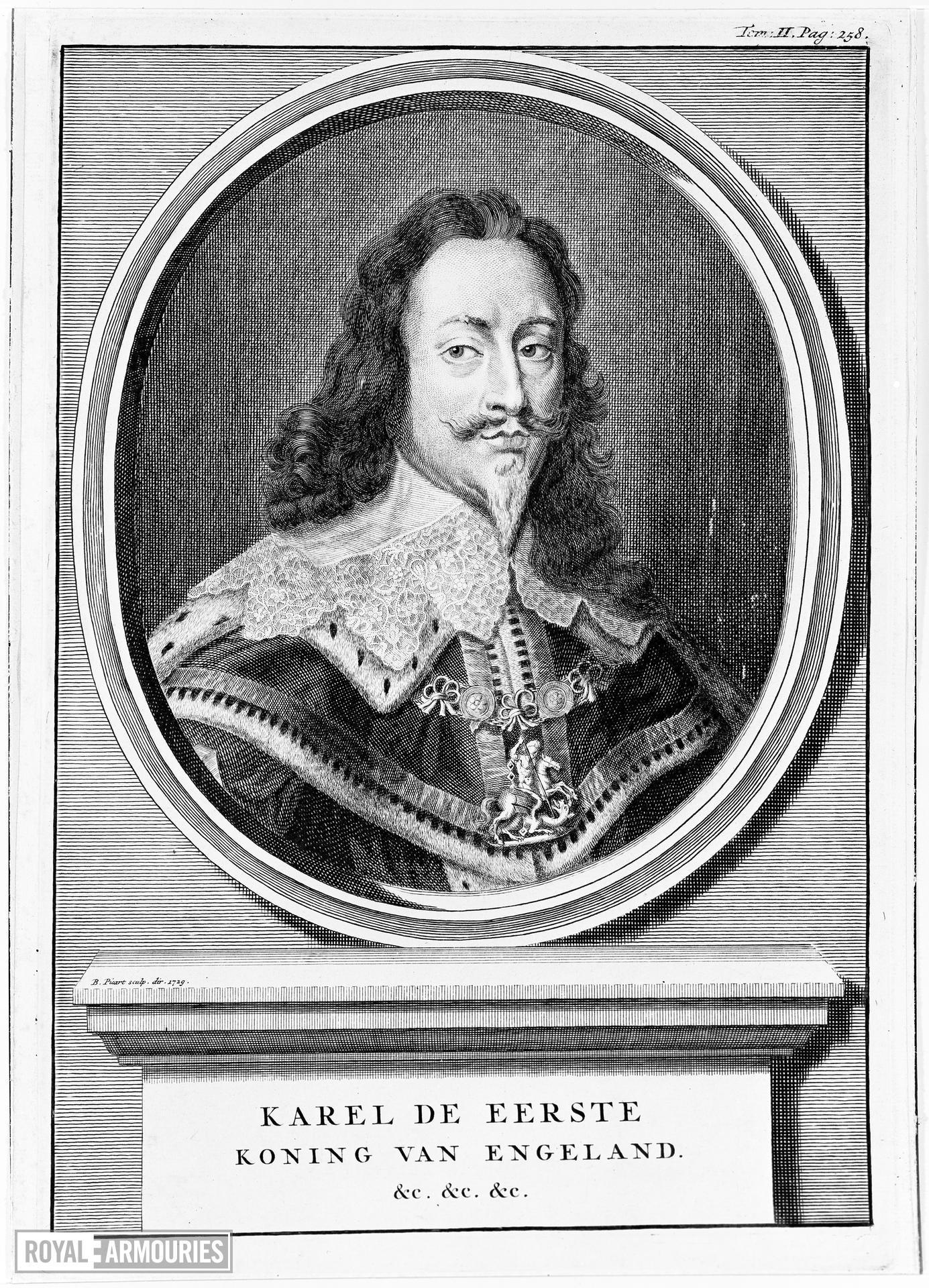Print Engraved Portrait of Charles I, 1600-1649.