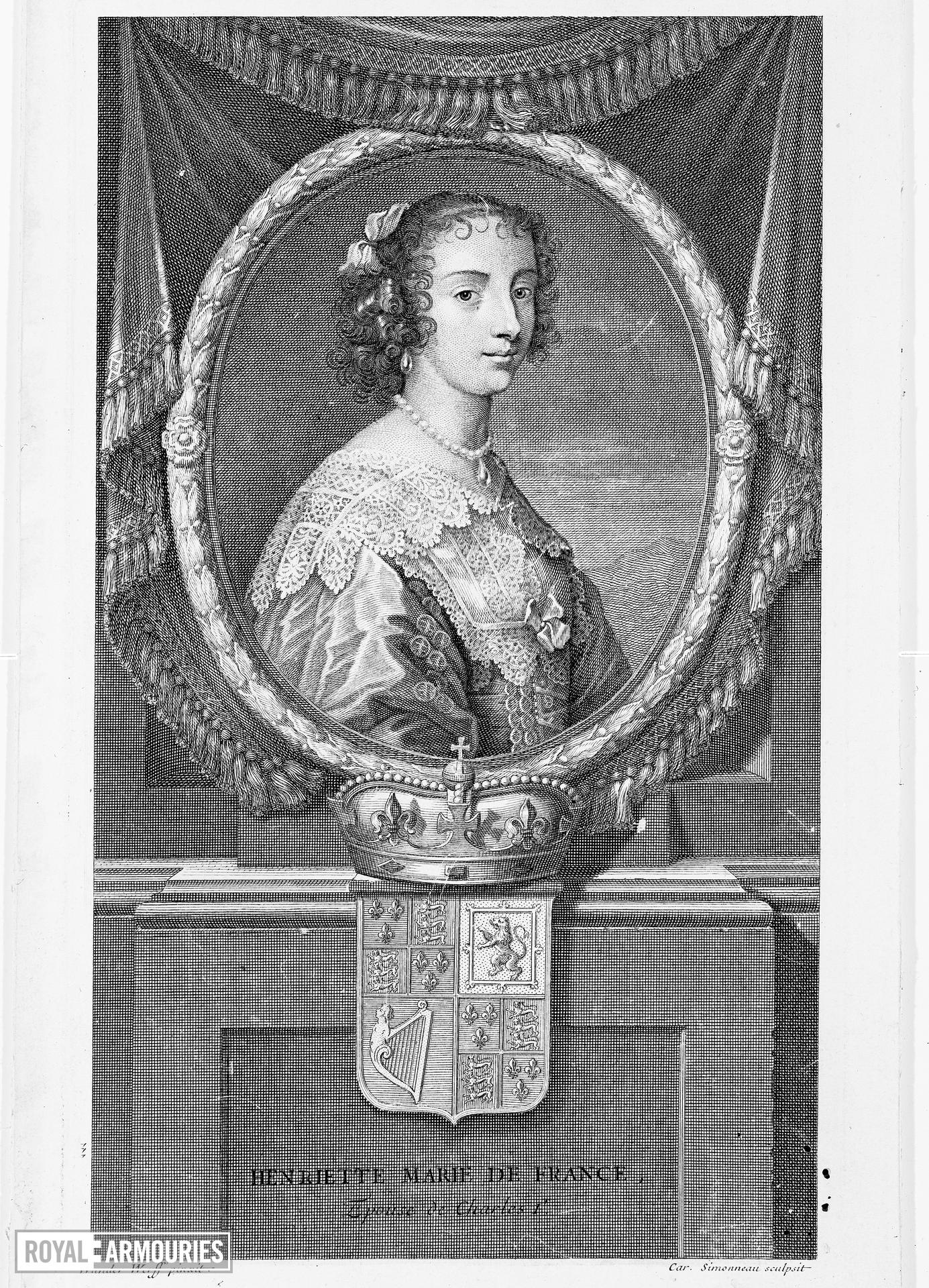 Print Engraved portrait of Henrietta Maria, Queen of England, 1609-1669. From a painting by Wander Werff, engraved by car. Simonneau.