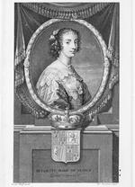 Thumbnail image of Print Engraved portrait of Henrietta Maria, Queen of England, 1609-1669. From a painting by Wander Werff, engraved by car. Simonneau.