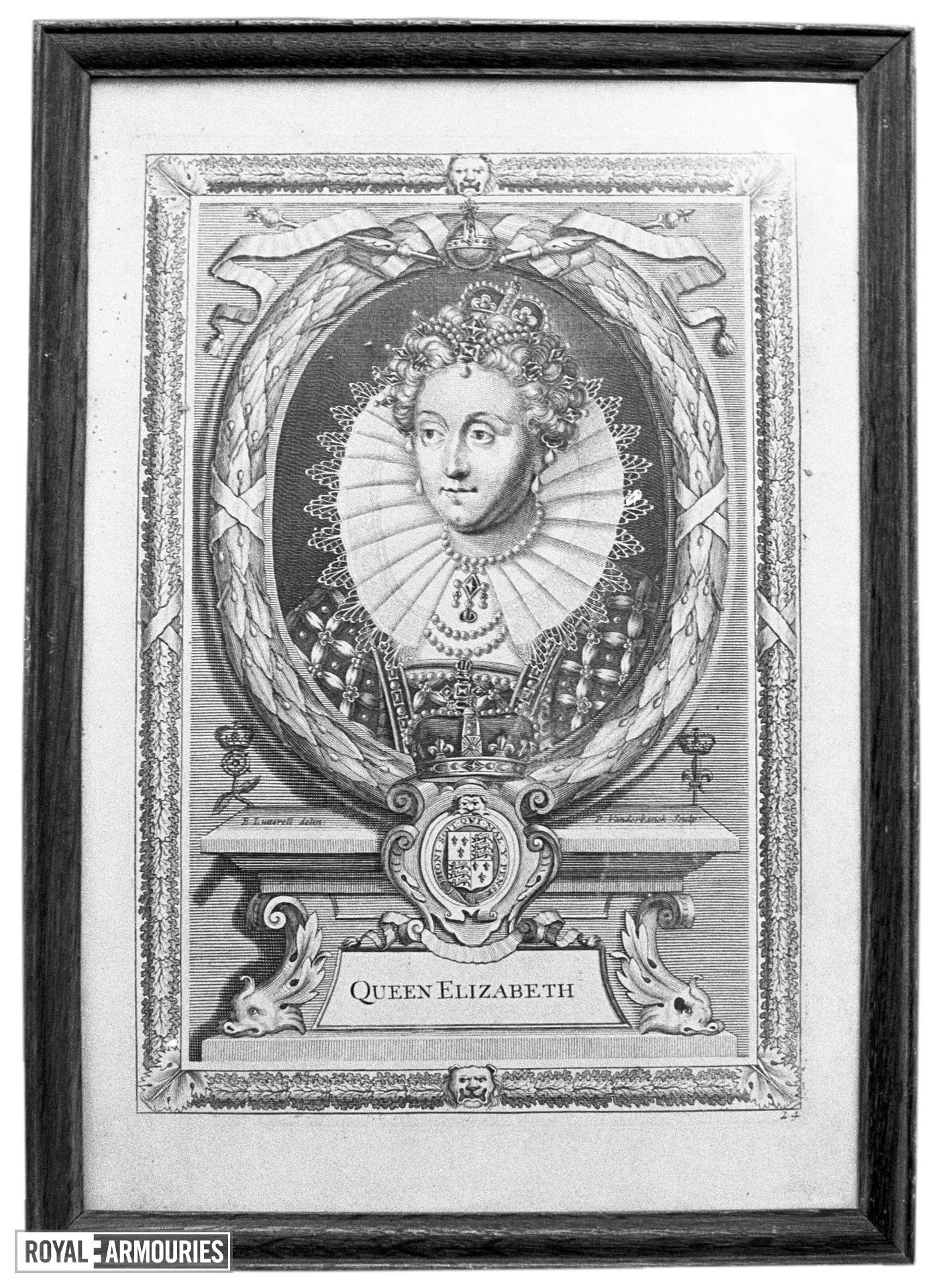 Print Portrait of Queen Elizabeth I.
