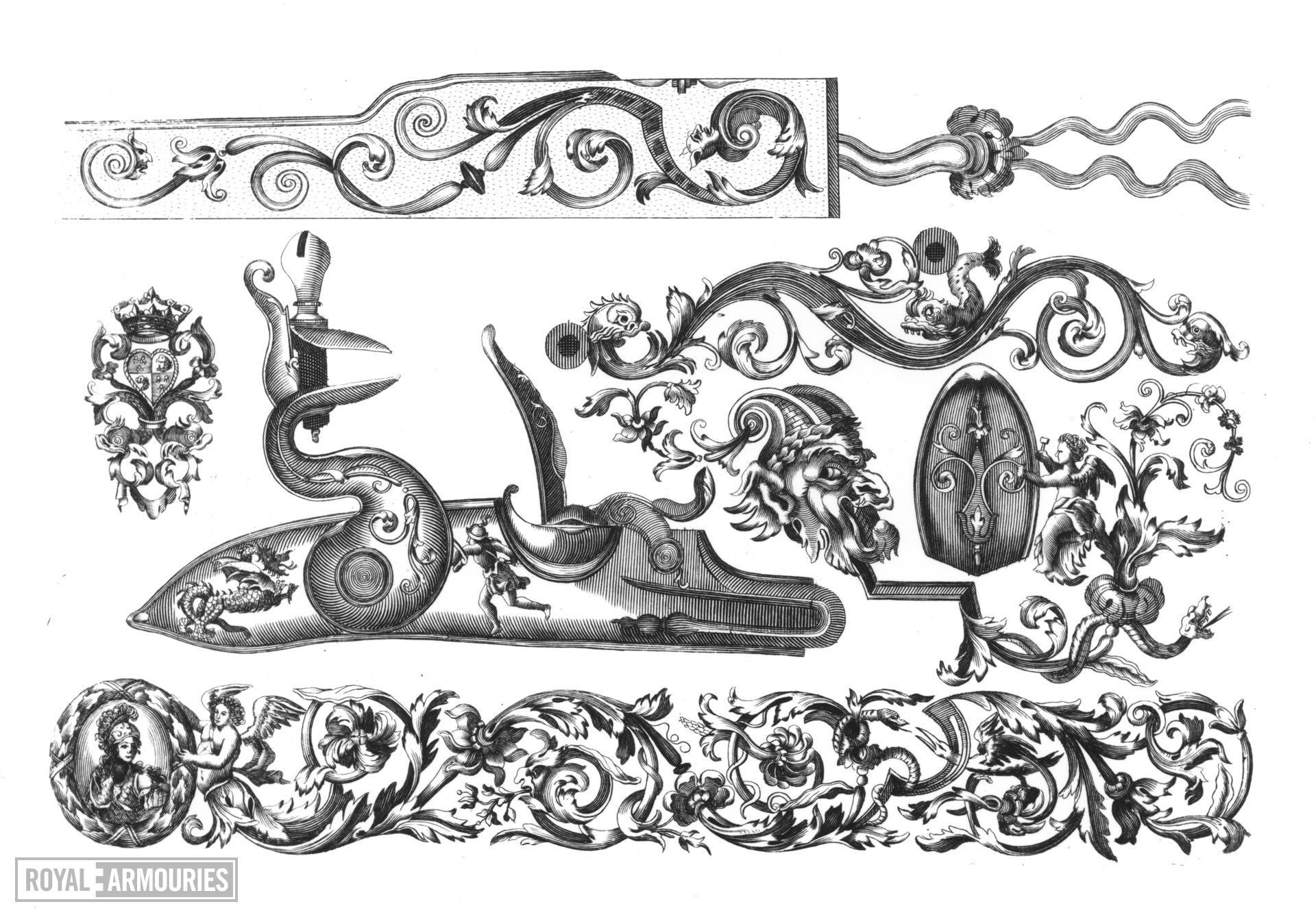Prints P. Schonck, 'Plusiers Pieces et Ornements d'Arquebuserie', Amsterdam, 1692.