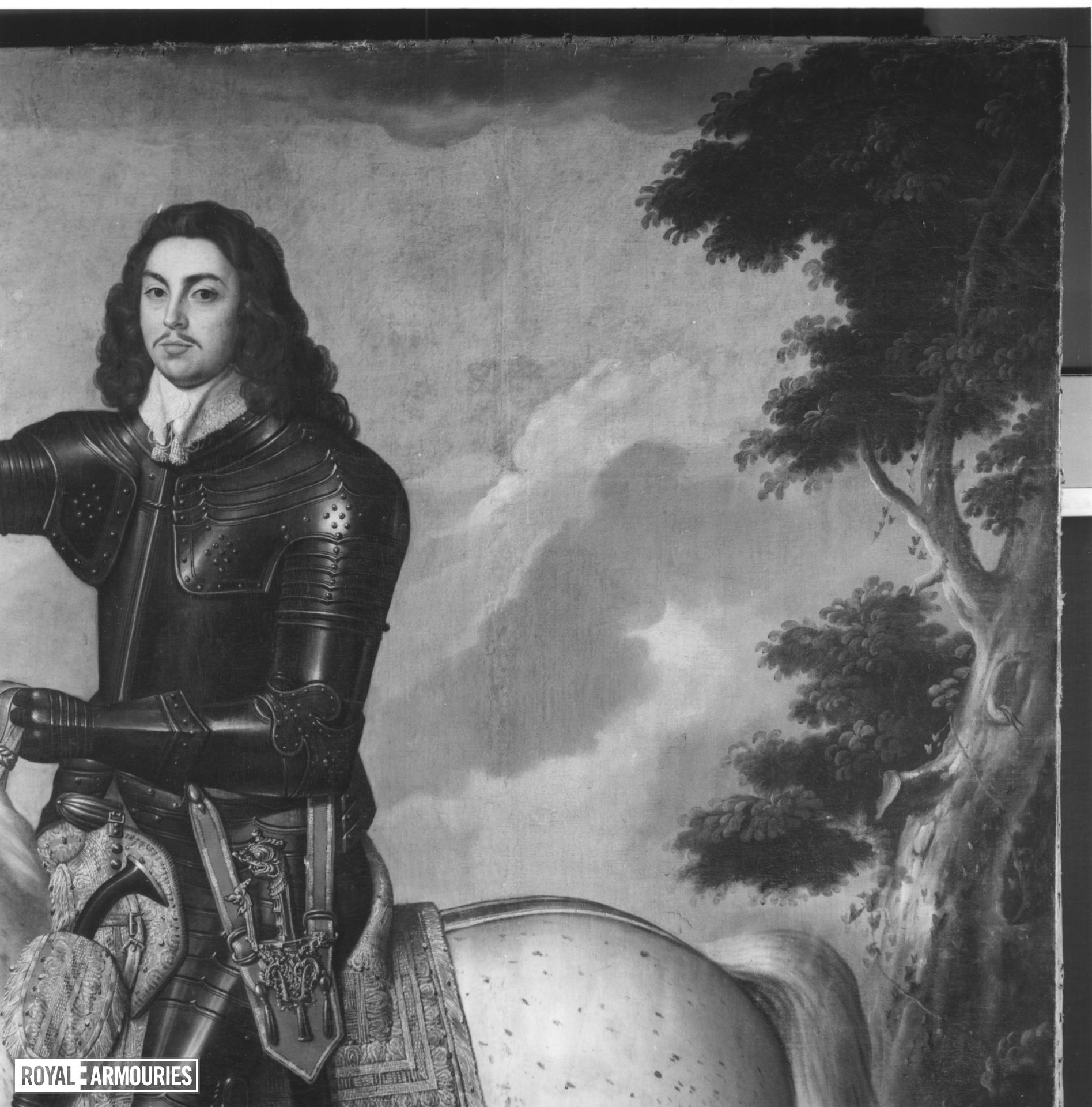 Painting Portrait of Colonel Alexander Popham in armour astride a dappled horse. Littlecote collection