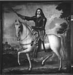 Thumbnail image of Painting Portrait of Colonel Alexander Popham in armour astride a dappled horse. Littlecote collection