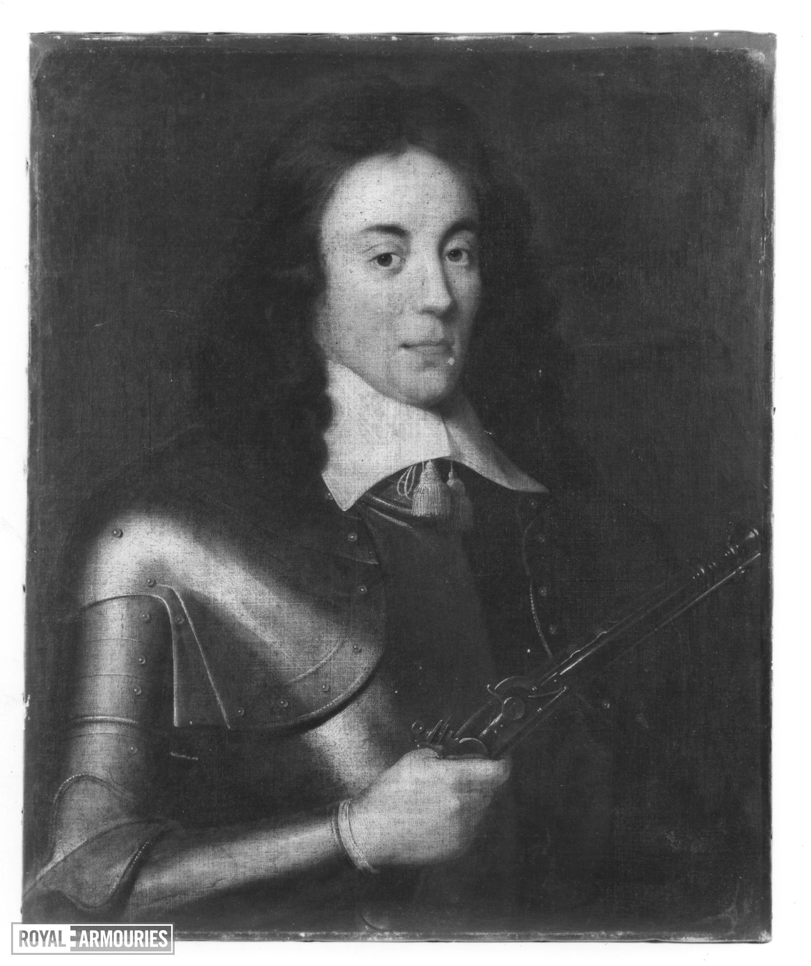 Painting Portrait of a Man in Armour, holding a pistol.