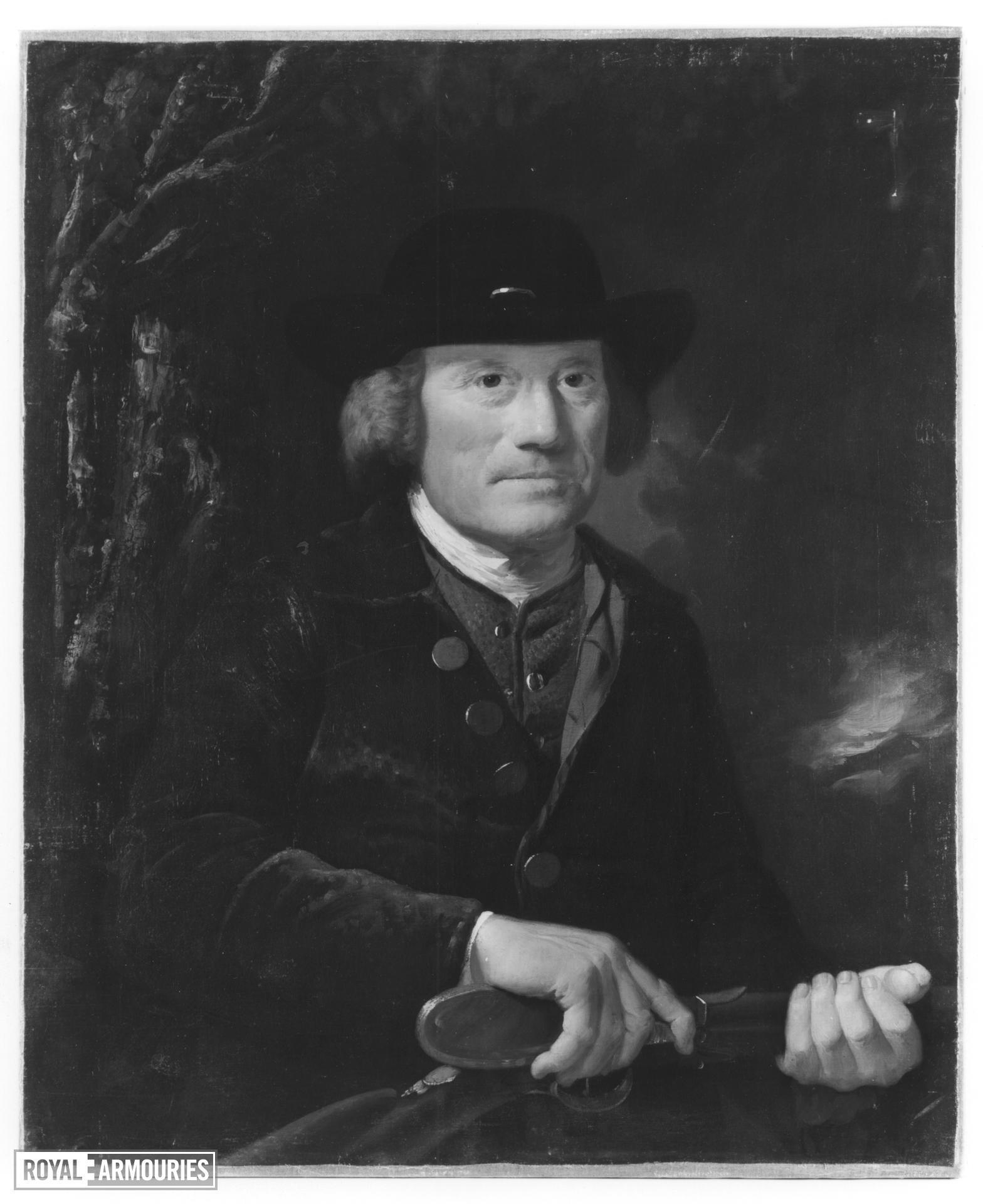 Painting Portrait of a sportsman priming his shotgun.