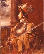 Thumbnail image of Painting Portrait of S.J. Whawell in Landsknecht armour, by Seymour Lucas.