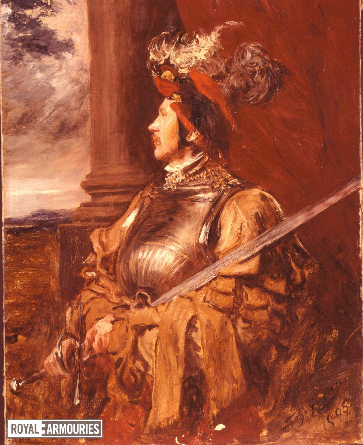 Painting Portrait of S.J. Whawell in Landsknecht armour, by Seymour Lucas.