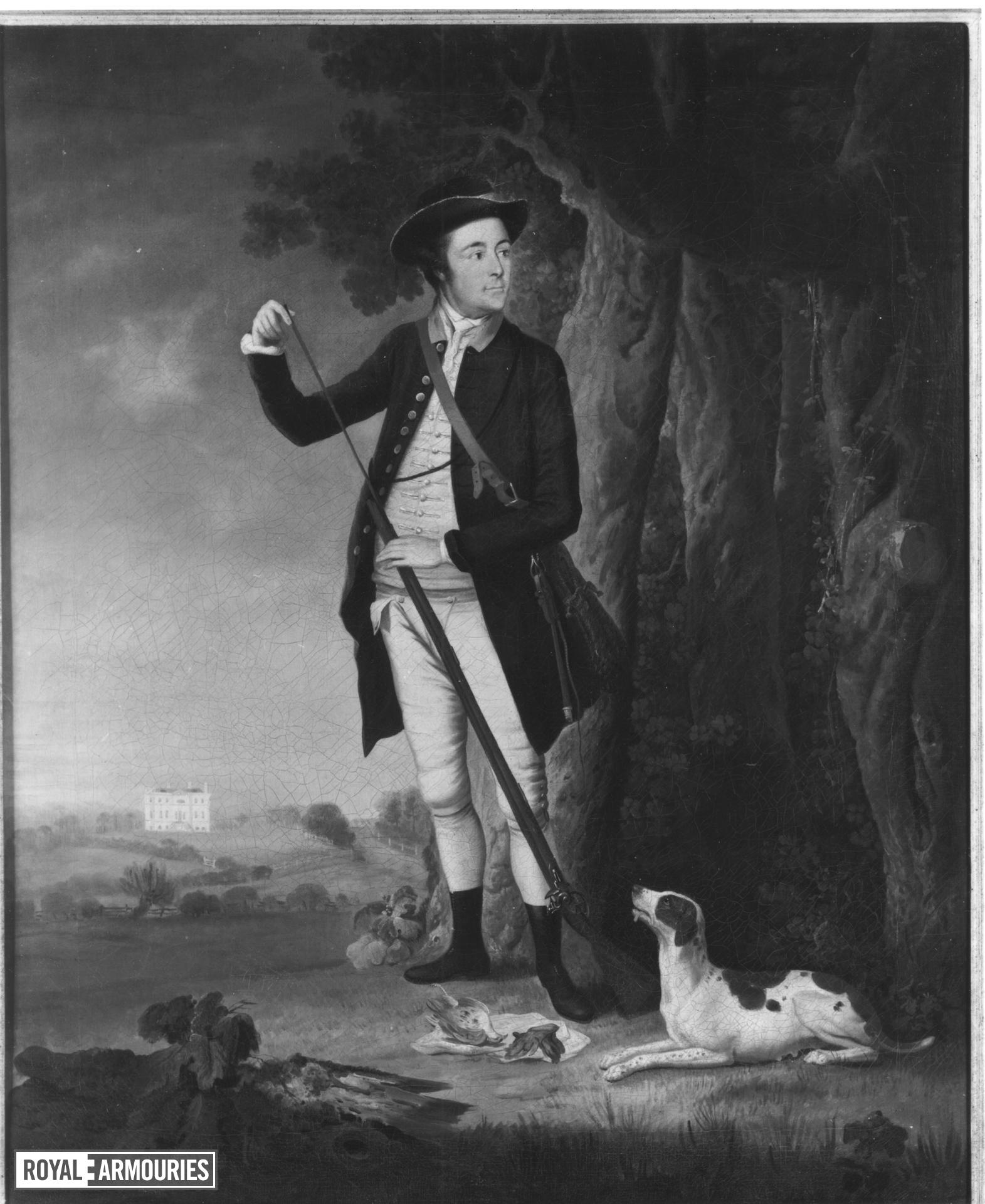 Painting Portrait of Roger Pocklington of Westhorpe Hall, Nottinghamshire, attributed to William Williams and dated 1773 on frame.
