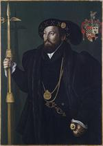 Thumbnail image of Painting - Portrait, probably William Palmer Portrait, attributed to Gerlach Flicke, of a member of the Palmer family, probably William Palmer, Gentleman Pensioner c. 1539, with a pollaxe and basket hilted sword.