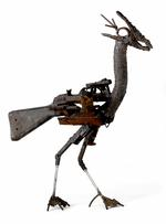 Thumbnail image of Sculpture - Bird that Wants to Survive An impression of a Black Winged Stilt bird made with firearm parts exchanged with Mozambican citizens in exchange for tools and bicycles supplied by western NGOs. By Fiel Dos Santos.