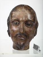 Thumbnail image of Carved wooden head of King James I. English, possibly 1660s. Sculpted for the Line of Kings