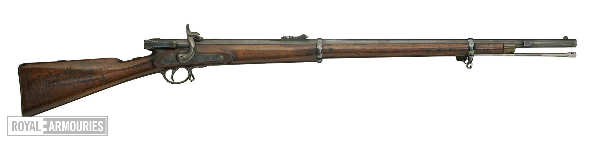 Percussion breech-loading military rifle - Calisher and Terry model for the Navy, sealed pattern