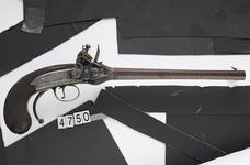 Thumbnail image of Flintlock breech-loading repeating pistol - Lorenzoni pistol Lorenzoni type seven-shot pistol by H.W. Mortimer Snr,